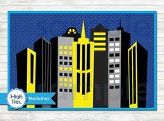 Superhero Backdrop, Superheroes Party Printable Backdrop, Instant Download Superhero Background