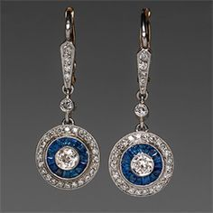 1920's Art Deco Dangle Earrings Diamonds  Blue Sapphires in Platinum  18K Gold