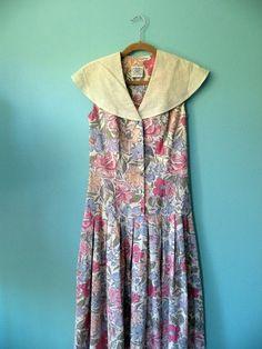 Vintage 1980s Laura Ashley Floral Sailor Dress by ATinyKingdom, $38.00
