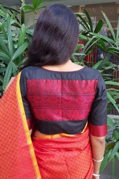 Red orange kanchi silk mat weave saree - Red orange mat style woven kanchipuram silk saree with mustard edge border and traditional muthe seeru pallu. Blouse is plain mustard silk Choli Blouse Design, Blouse Designs Silk, Saree Blouse Patterns, Saree Color Combinations, Fashion Displays, Saree Models, Saree Look, Fancy Sarees, Saree Dress