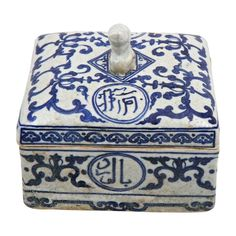ming covered box | Chinese soft paste porcelain, blue & white box and cover. Ming Dynasty ...