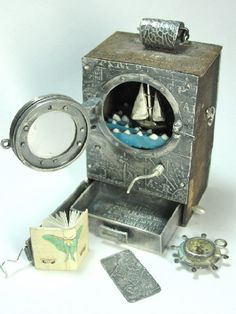 Mechanical Narrative Box #2:  Threshold by Kimberly Nogueira ... fine and sterling silver, bronze, vitreous glass enamel, paper, mica, found object, cultured pearl