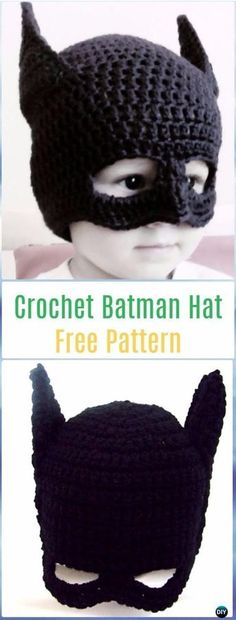 Crochet Batman Hat Free Pattern with Video Crochet Halloween Hat Free Patterns - Batman Poster - Trending Batman Poster. - Crochet Batman Hat Free Pattern with Video Crochet Halloween Hat Free Patterns Crochet Hats For Boys, Crochet Baby Hats, Crochet Beanie, Crotchet, Crochet Mittens, Crochet Gloves, Crochet Children, Crochet Mask, Booties Crochet