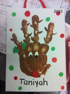 reindeer hand? wow i love this kind of stuff! easy to make different by adding a fun back ground!