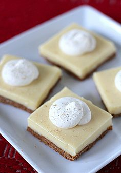 Love, Love Love Eggnog! Now Eggnog Cheesecake Bars ~ OMG! I gained 10 pounds just thinking about these wonderful bars.