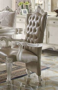 Versailles Arm Chair in Vintage Gray PU & Bone White - Acme Furniture 61133 Chair Pads, Bone White, Furniture, Side Chairs, Acme Furniture, Chair Set, Armchair, Home Decor, White