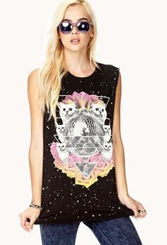 Space Cat Muscle Tee | FOREVER21 - 2000072550