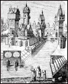 Dorf Deutsch XV Jahrhundert | Holzschnitt einer fiktiven mittelalterlichen Stadt aus dem 15 ...