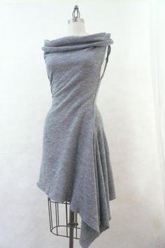 Maria Severyna cascading hemline sweater dress tunic in gray wool jersey