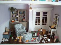 "Dollhouse Miniature ""Cat Mayhem"" Vignette"