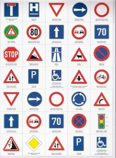 Traffic Signs And Symbols, All Traffic Signs, Road Sign Meanings, Transport Topics, Driving Theory, Preschool Calendar, Drivers Ed, Easter Coloring Pages, Kids Library
