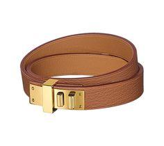 Mini Dog Double Tour Hermes bracelet in Swift calfskin, gold plated  hardware 5.5