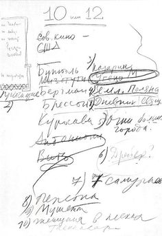 Andrei Tarkovsky Creates a List of His 10 Favorite Films (1972) - there is a type written list in the text if you don't speak Russian (or can't decipher his scrawl), just click the picture