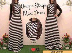 Unique stripe maxi dress+inner bahan spandek rayon 150.000.READY