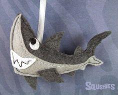 Felt Shark Ornament,  Felt  Ocean Animal,  Shark Tree Ornament - Derek the Great White Shark on Etsy, $22.00