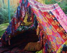 Boho tent teepee Bohemian Tapestry HIPPIEWILD silk by HippieWild