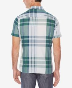 Perry Ellis Men's Classic Fit Plaid Shirt - Tan/Beige 2XL