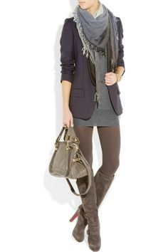 Layer tube dress,blazer,boots, tights and scarf. Great for Fall