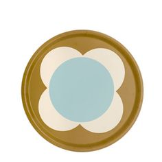 Orla Kiely | UK | House | Cooking & Dining | Round Spot Flower Tray (0TRASFL737) | Duck Egg & Ochre