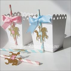 #Carousel #Party #Twins Pink And Blue Popcorn Favor Box by #JaclynPetersDesigns