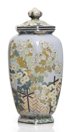 A cloisonné enamel jar and cover