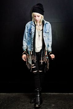 Black and blond and denim