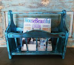 Turquoise Distressed Wooden Magazine Rack by turquoiserollerset, $36.00