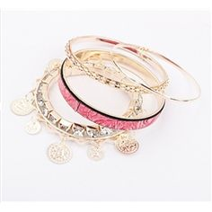 Fantastic Pink Wood Grain Pattern Lady's Fashion Alloy Bracelets Set Fashion Bracelets- ericdress.com 10501258