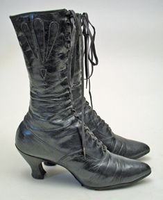 1905 - 1910s Edwardian Navy Blue Leather Boots