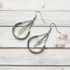 Green Kyanite And Crescent Tube Earrings  Kyanite by MarleeCWatts
