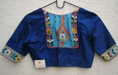 royal blue kutch work blouses from house of taamara Saree Blouse Neck Designs, Kurta Designs, Embroidery Neck Designs, Creative Embroidery, Hand Embroidery, Kutch Work Designs, Stylish Blouse Design, Designer Blouse Patterns, Collor