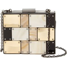 Sondra Roberts Tiled Faux Leather Clutch ($110) ❤ liked on Polyvore featuring bags, handbags, clutches, purses, metallic, faux leather handbags, beige clutches, beige purse, hard clutch and studded handbags