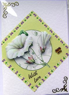White Flowers HandCrafted 3D Decoupage Card  With by SunnyCrystals, £1.45