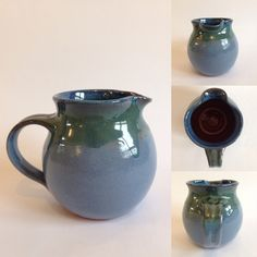 Ceramic Jug / Handmade Pottery / Blue & Sea Green - pinned by pin4etsy.com