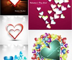 Cards with hearts vector