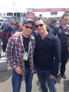 Bryan Singer and MichaelFassbender at the formula1 Grand Prix on the GRID.