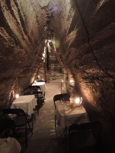 So this is dining in the Bonnechere Caves near Eganville, Ontario! Hmm, I just might get claustrophobic. Vacation Places, Vacation Trips, Vacation Spots, Places To Travel, Places To See, Vacations, Canada, Ottawa, Ontario Place