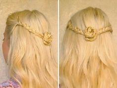 Easy half up half down hairstyles for long hair tutorial Romantic braided flower everyday half updo