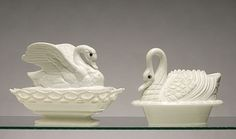 Atterbury glass co | ... Two Different Milk Glass Swan Covered Dishes, with Colored Glass Eyes