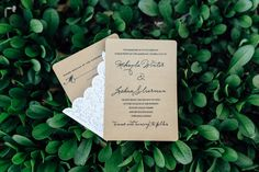 Rustic wedding invitation idea - brown cards with lace detail and elegant calligraphy {Kelcy Leigh Photography}