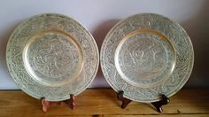 A Pair Of fantastic Antique Chinese Bronze Plates With Dragon And Other Traditional Chinese Designs, Embossed Seal And Writing On Base by OnyxCollectables on Etsy