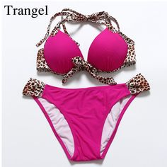 Trangel New arrival bikini 2017 push up bikini striped swimwear leopard print padding halter Women bikini beachwear MG058 #Affiliate