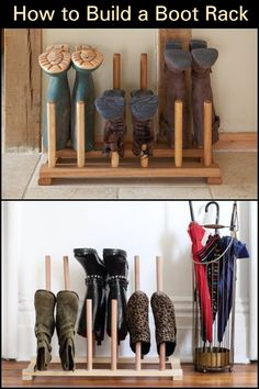 Build your own customized boot rack! Keep Your Entry Organized And Your Floor Free From Dirty Boots Boot Storage, Diy Storage, Entry Organization, Boot Rack, Wellies Boots, Shoe Organizer, Diy Projects, Home Decor, Leather Boots