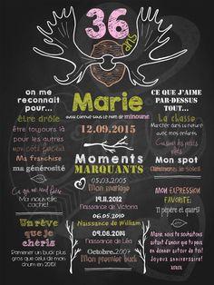 Affiche personnalisée anniversaire pour adulte Quel panache! (rose) | 35,00$ #chalkboard #lacraieco
