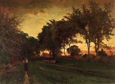 Evening Landscape - Innes, George (American, 1825 - Fine Art Reproductions, Oil Painting Reproductions - Art for Sale at Bohemain Fine Art Beautiful Paintings, Beautiful Landscapes, Barbizon School, Hudson River School, Genius Loci, Sense Of Place, Oil Painting Reproductions, Famous Artists, Bedrooms