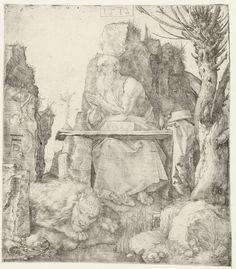 Albrecht Dürer | De Heilige Hiëronymus in de wildernis, Albrecht Dürer, 1512 | De Heilige Hiëronymus zit in een rotsachtige omgeving te bidden bij een crucifix. Naast hem staat een knotwilg, aan zijn voeten ligt een leeuw.