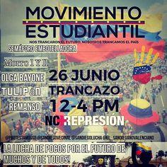 #trancazonacional🇻🇪#MOVIMIENTO Estudiantil Presente!  PUNTOS: SEMÁFORO DE LA EMBOTELLADORA  OLGA BAYONE  TULIPÁN  MORRO I MORRO II  Que nadie se quede en Casa! 👪👋🏠El protagonista de esta lucha eres tu #RESISTENCIA  #VIRALIZALADICTADURA #VENEZUELALIBRE #VAMOS #VENEZUELA #RESISTENCIA #SANDIEGO #CARABOBO #MADURODICTADOR #FUERAMADURO #SOS #SISEPUEDE #porunavenezuelalibreydelosvenezolanos #somosmillones #soyvzla #madurodictador #sandiego #sandiegoconnection #sdlocals #sandiegolocals - posted…