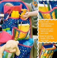 Keeping the car or van clean can be a challenge with children. Give the kids a place to put their favorite toys, books, CDs, etc, with this easy to sew organizer. The second organizer holds a standard plastic grocery bag for candy wrappers, empty cups, etc. Each combines cotton prints, quilt batting and craft interfacing to make the base and pockets a sturdy weight. Will work with any style headrest. You can make Clutter Catchers for any room in the house - especially great in the sewing…
