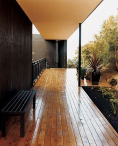 The outside deck, made of local celery-top pine, welcomes both humans and the natural landscape further into the house.