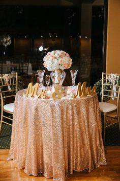 Rose Gold Glitz Linen for Sweetheart and/or cake table - Qty: 2 in stock (picture shows our Mr. and Mrs. signs)